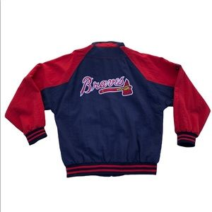 Apex One Mens Atlanta Braves Jacket size Large Red Blue Full Zip